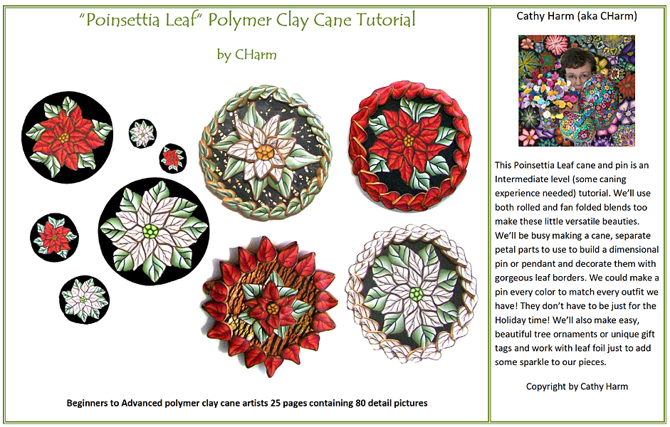 Poinsettia Leaf  polymer clay canes