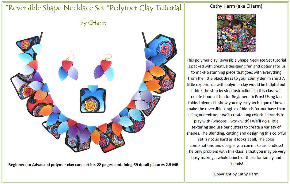 Reversible Necklace Set polymer clay